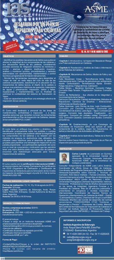 Curso Sobre Desarrollo de un Plan de Inspección de Calderas