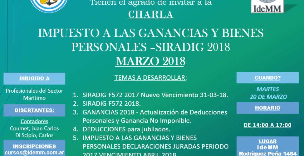 Charla Impuesto a las ganancias y bienes personales - SIRADIG 2018